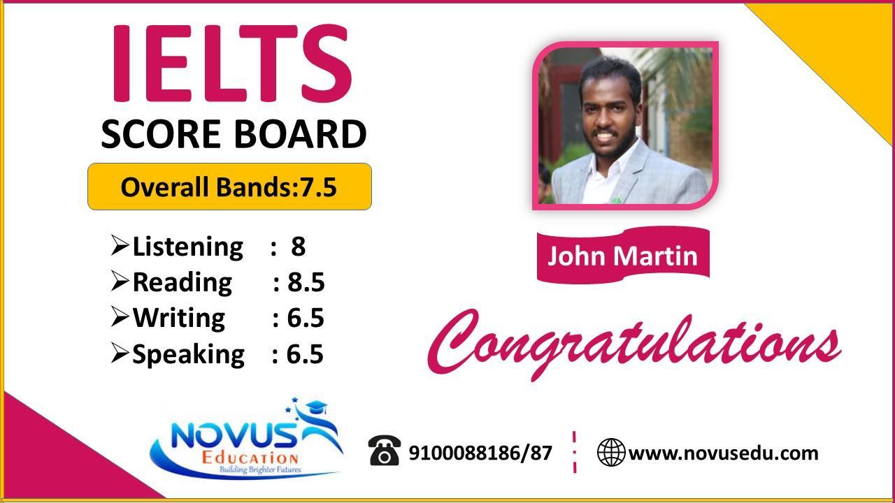 John Martin IELTS score | Best Overseas Education Consultancy in